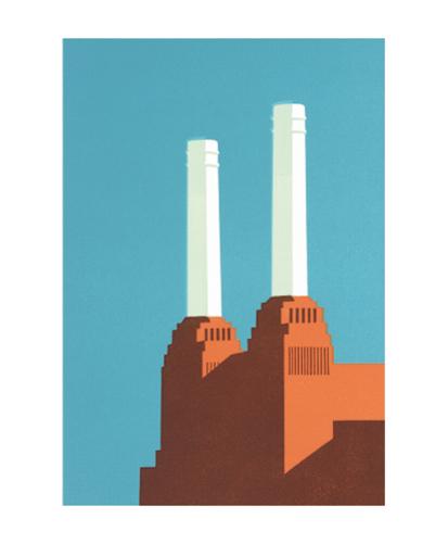 Battersea Blue III Linocut by Paul Catherall